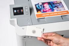 Printer security, with use of NFC card on colour laser device
