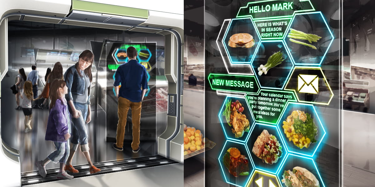 future of grocery shopping, customers using touch screen displays to choose their items