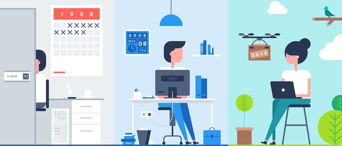 illustration showing the evolving office setting, from a cubicle to remote working