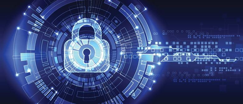 image of a lock on a blue background to highlight digital security