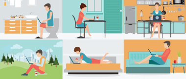 Six illustrations of employees working in different locations around the home and garden