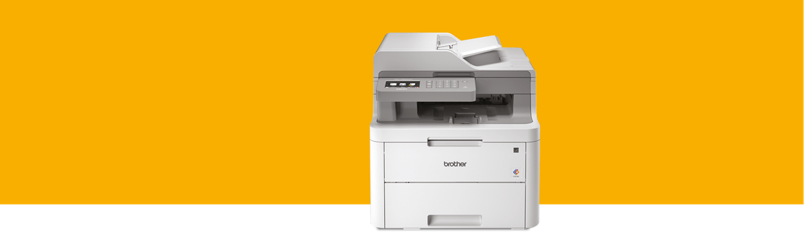 Brother's DCP-L3550CDW printer on an amber background