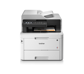 MFCL3770CDW colour LED wireless printers front facing with paper